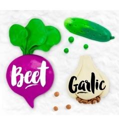 Plasticine vegetables beet vector
