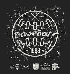 Retro emblem baseball college team vector image vector image