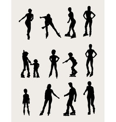 Roller Skates Silhouettes vector image