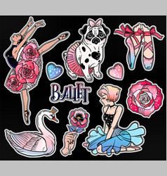 set of ballet stickers patches or elements vector image vector image