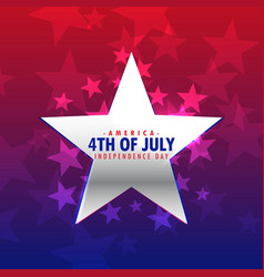 Shiny silver star 4th of july background vector