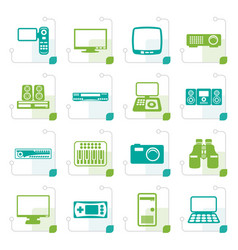 Stylized hi-tech equipment icons vector