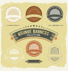 Vintage grunge banner and labels collection vector