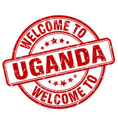 Welcome to uganda red round vintage stamp vector