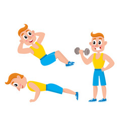Young man doing sport exercises training vector