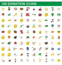 100 donation icons set cartoon style vector image