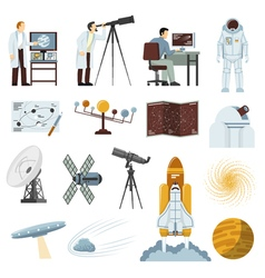 Astronomy research equipment flat icons collection vector