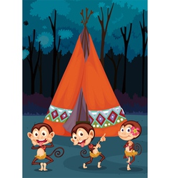 Monkeys camping vector