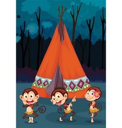 monkeys camping vector image
