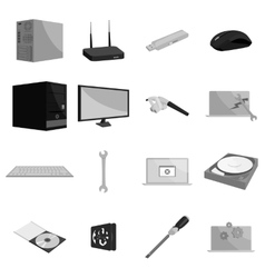 Computer hardware and technology icons set vector