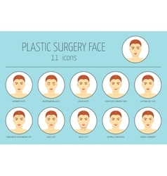 11 icons of plastic surgery face Flat design vector image