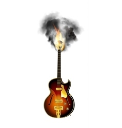 Jazz guitar neck in the fire and smoke vector