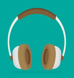 Flat brown headphones vector