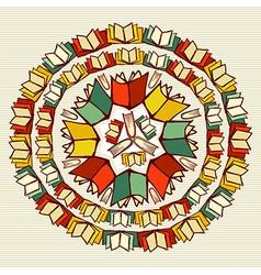 Education books back to school mandala vector image