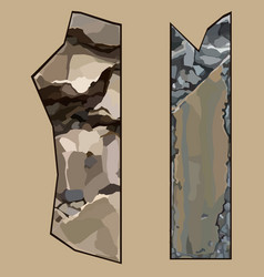 Painted pieces of elements from brown and gray vector