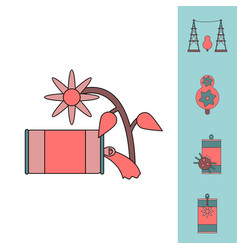 collection of icons and save nature vector image