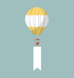 empty promotional placard attached to air balloon vector image