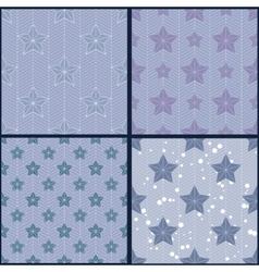 Set of blue star patterns vector image