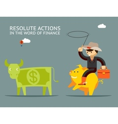 Fundraising concept businessman on pig catches vector
