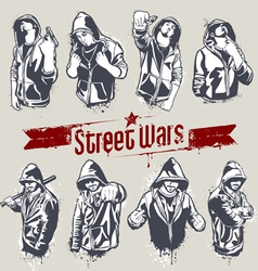 hooded gangsters vector image
