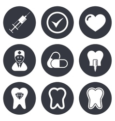 Tooth dental care icons Stomatology signs vector image