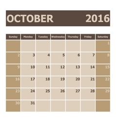 Calendar october 2016 week starts from sunday vector