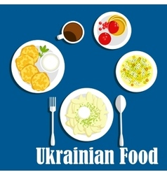 Fresh ukrainian cuisine vegetables and drink vector