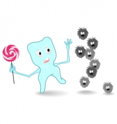 Tooth and monsters of caries vector