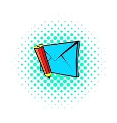 Write e-mail icon pop-art style vector