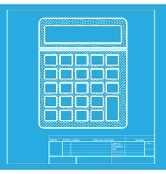 Calculator simple sign white section of icon on vector