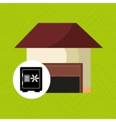 Smart home with heavy box isolated icon design vector