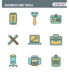 Icons line set premium quality of basic business vector