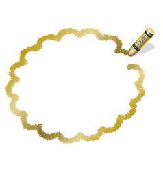 A gold crayon message frame vector
