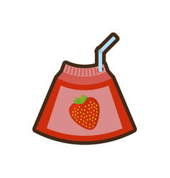 Cartoon strawberry juice box with straw vector