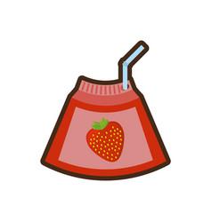 Cartoon strawberry juice box with straw vector