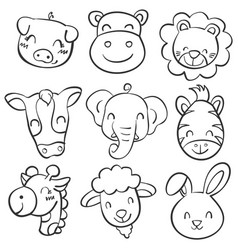 Collection hand draw animal head doodles vector