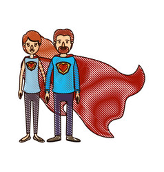 Color crayon stripe cartoon full body couple super vector