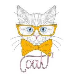 Cute cat boy portrait with hipster glasses vector