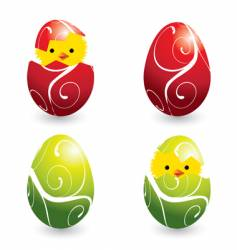 Easter eggs and hatching chicks vector image