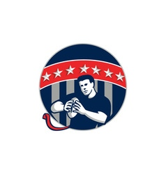 Flag football qb player running circle retro vector