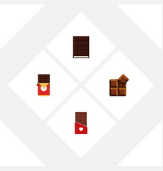 Flat icon bitter set of cocoa dessert chocolate vector