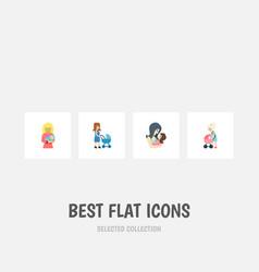 Flat icon mam set of mother newborn baby vector