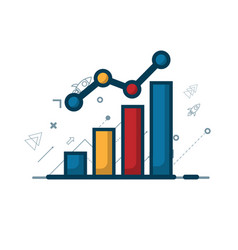 growth graph with growth arrow business concept vector image