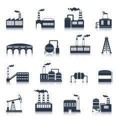 Industrial building icons black vector image