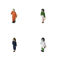 Isometric people set of businesswoman pedagogue vector