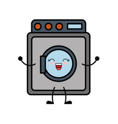 Kawaii washing machine icon vector