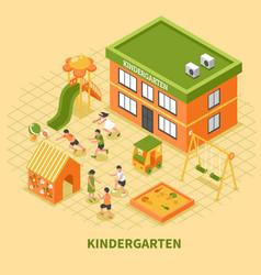 Kindergarten building isometric composition vector