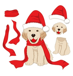 Labrador retriever christmas day santa dog vector