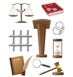 Law set icons vector