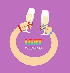 LGBT wedding Symbol of wedding of two women vector image vector image